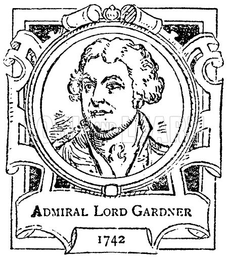 Admiral Lord Gardner. Illustration for The Portrait Birthday-Book (Seely, c 1870).