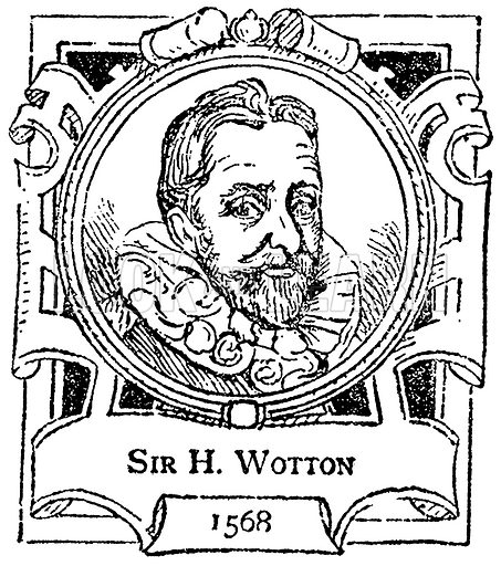 Sir H Wotton. Illustration for The Portrait Birthday-Book (Seely, c 1870).