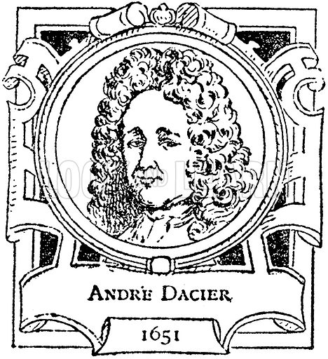 Andre Dacier. Illustration for The Portrait Birthday-Book (Seely, c 1870).