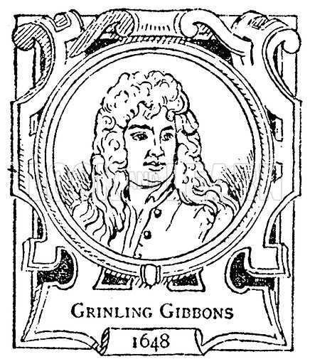 Grinling Gibbons. Illustration for The Portrait Birthday-Book (Seely, c 1870).