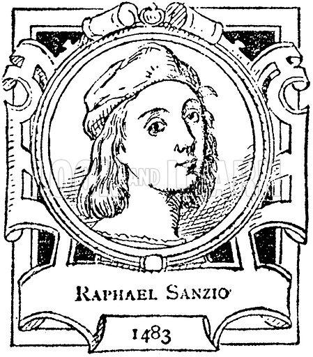 Raphael Sanzio. Illustration for The Portrait Birthday-Book (Seely, c 1870).