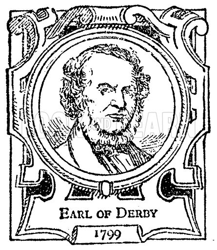Earl of Derby. Illustration for The Portrait Birthday-Book (Seely, c 1870).