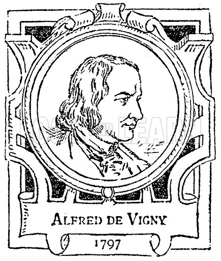 Alfred de Vigny. Illustration for The Portrait Birthday-Book (Seely, c 1870).