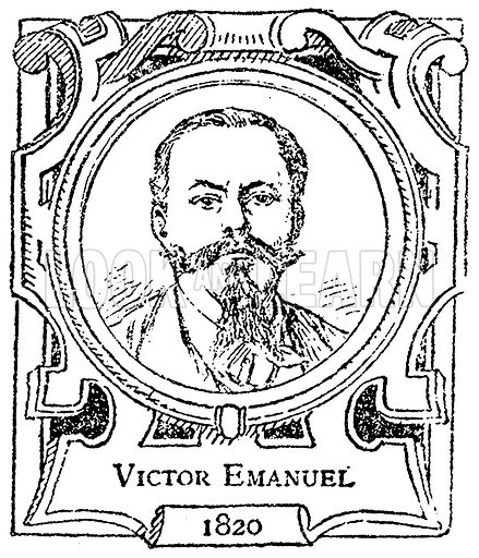Victor Emanuel. Illustration for The Portrait Birthday-Book (Seely, c 1870).