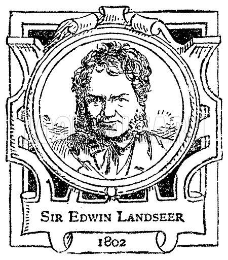 Sir Edwin Landseer. Illustration for The Portrait Birthday-Book (Seely, c 1870).