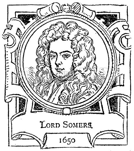 Lord Somers. Illustration for The Portrait Birthday-Book (Seely, c 1870).