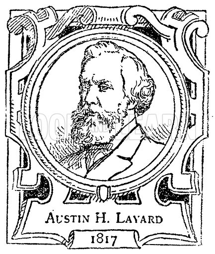 Austin H. Layard. Illustration for The Portrait Birthday-Book (Seely, c 1870).