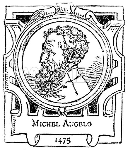Michel Angelo. Illustration for The Portrait Birthday-Book (Seely, c 1870).