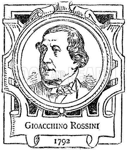 Gioacchino Rossini. Illustration for The Portrait Birthday-Book (Seely, c 1870).