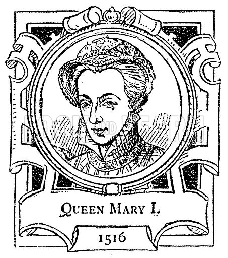 Queen Mary I. Illustration for The Portrait Birthday-Book (Seely, c 1870).