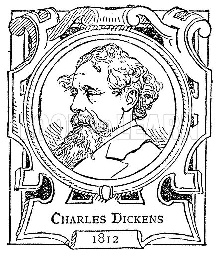Charles Dickens. Illustration for The Portrait Birthday-Book (Seely, c 1870).