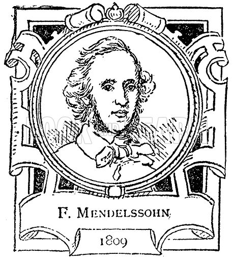 F. Mendelssohn. Illustration for The Portrait Birthday-Book (Seely, c 1870).