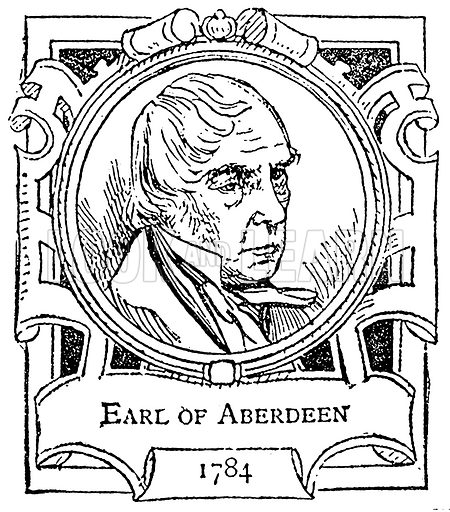 Earl of Aberdeen. Illustration for The Portrait Birthday-Book (Seely, c 1870).