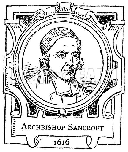 Archbishop Sancroft. Illustration for The Portrait Birthday-Book (Seely, c 1870).