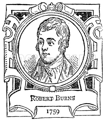 Robert Burns. Illustration for The Portrait Birthday-Book (Seely, c 1870).