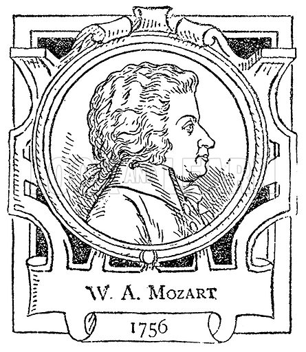 WA Mozart. Illustration for The Portrait Birthday-Book (Seely, c 1870).