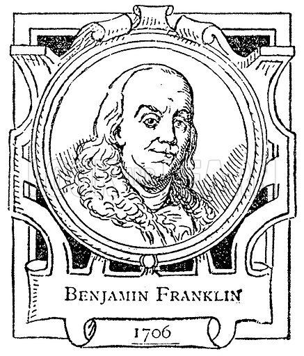 Benjamin Franklin. Illustration for The Portrait Birthday-Book (Seely, c 1870).