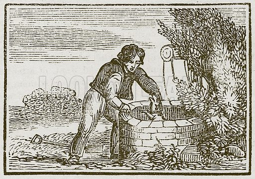 The Gardener and his Dog. Illustration for The Fables of Aesop by Samuel Croxall (Milner & Sowerby, 1860).