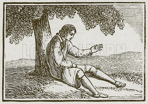 The Man and the Gnat. Illustration for The Fables of Aesop by Samuel Croxall (Milner & Sowerby, 1860).