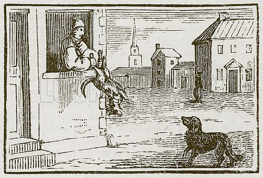 The Dog invited to Supper. Illustration for The Fables of Aesop by Samuel Croxall (Milner & Sowerby, 1860).