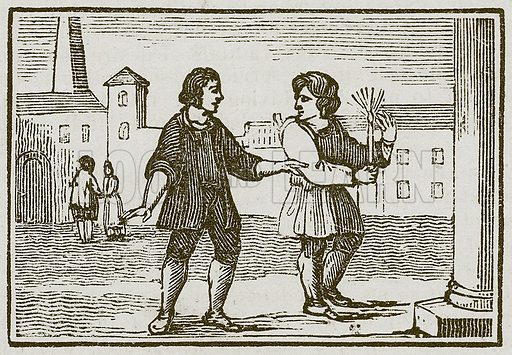 Aesop and the Impertinent Fellow. Illustration for The Fables of Aesop by Samuel Croxall (Milner & Sowerby, 1860).