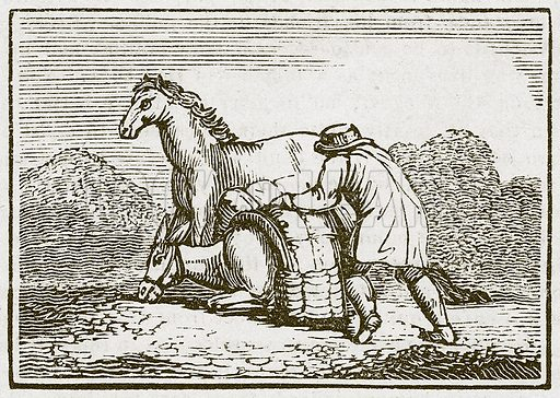 The Horse and the Loaded Ass. Illustration for The Fables of Aesop by Samuel Croxall (Milner & Sowerby, 1860).
