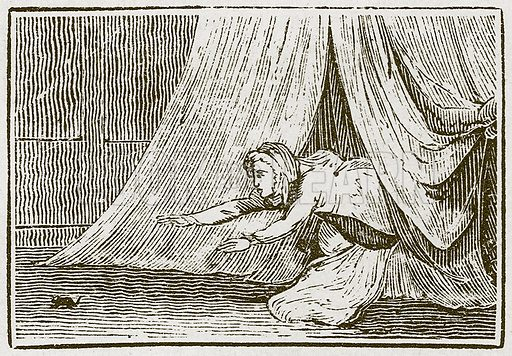 The Young Man and his Cat. Illustration for The Fables of Aesop by Samuel Croxall (Milner & Sowerby, 1860).