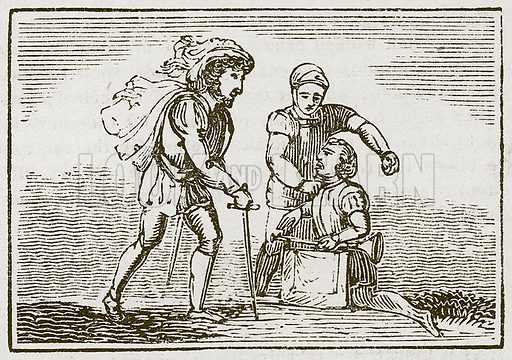 The Trumpeter taken Prisoner. Illustration for The Fables of Aesop by Samuel Croxall (Milner & Sowerby, 1860).