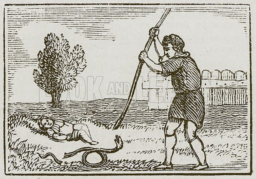 The Serpent and the Man. Illustration for The Fables of Aesop by Samuel Croxall (Milner & Sowerby, 1860).