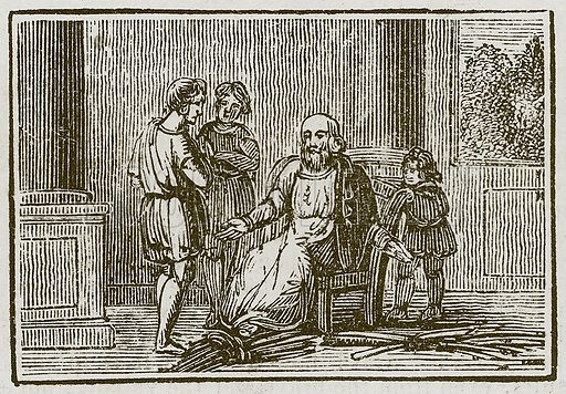 The Old Man and His Sons. Illustration for The Fables of Aesop by Samuel Croxall (Milner & Sowerby, 1860).