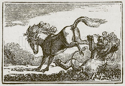 The House and the Lion. Illustration for The Fables of Aesop by Samuel Croxall (Milner & Sowerby, 1860).
