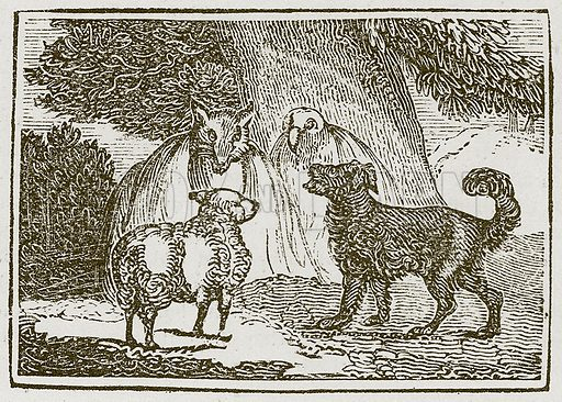 The Dog and the Sheep. Illustration for The Fables of Aesop by Samuel Croxall (Milner & Sowerby, 1860).