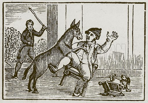 The Ass and the Little Dog. Illustration for The Fables of Aesop by Samuel Croxall (Milner & Sowerby, 1860).