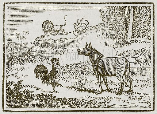 The Ass, the Lion, and the Cock. Illustration for The Fables of Aesop by Samuel Croxall (Milner & Sowerby, 1860).