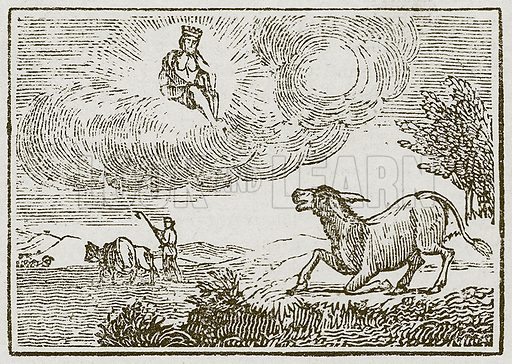 Jupiter and the Ass. Illustration for The Fables of Aesop by Samuel Croxall (Milner & Sowerby, 1860).