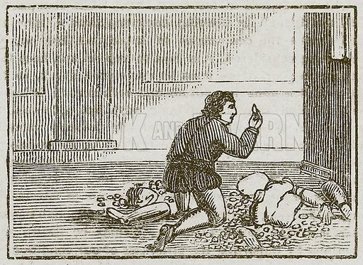 The Man and his Wooden God. Illustration for The Fables of Aesop by Samuel Croxall (Milner & Sowerby, 1860).