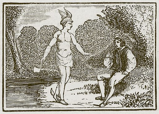 Mercury and the Woodman. Illustration for The Fables of Aesop by Samuel Croxall (Milner & Sowerby, 1860).