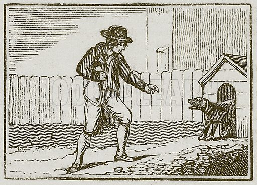 The Thief and the Dog. Illustration for The Fables of Aesop by Samuel Croxall (Milner & Sowerby, 1860).
