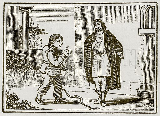 Aesop at Play. Illustration for The Fables of Aesop by Samuel Croxall (Milner & Sowerby, 1860).