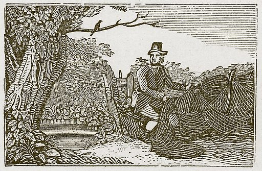 The Fowler and the Blackbird. Illustration for The Fables of Aesop by Samuel Croxall (Milner & Sowerby, 1860).