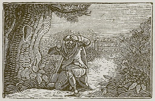 The Covetous Man. Illustration for The Fables of Aesop by Samuel Croxall (Milner & Sowerby, 1860).