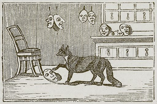 The Fox and the Vizor-Mask. Illustration for The Fables of Aesop by Samuel Croxall (Milner & Sowerby, 1860).