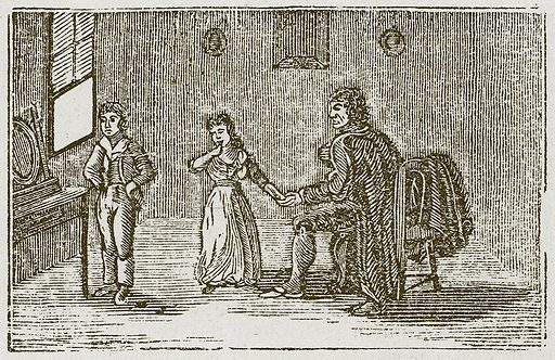 The Boasting Traveller. Illustration for The Fables of Aesop by Samuel Croxall (Milner & Sowerby, 1860).