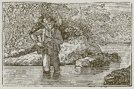 The Angler and the Little Fish. Illustration for The Fables of Aesop by Samuel Croxall (Milner & Sowerby, 1860).