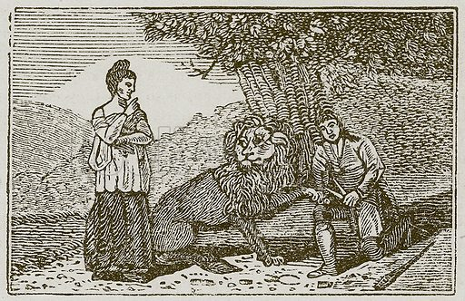 The Lion in Love. Illustration for The Fables of Aesop by Samuel Croxall (Milner & Sowerby, 1860).