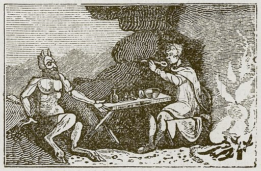The Satyr and the Traveller. Illustration for The Fables of Aesop by Samuel Croxall (Milner & Sowerby, 1860).
