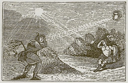 The Wind and the Sun. Illustration for The Fables of Aesop by Samuel Croxall (Milner & Sowerby, 1860).