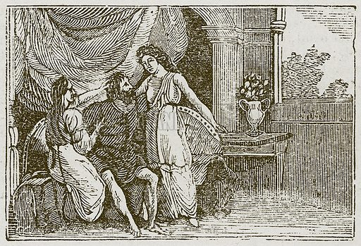 The Man and his Two Wives. Illustration for The Fables of Aesop by Samuel Croxall (Milner & Sowerby, 1860).