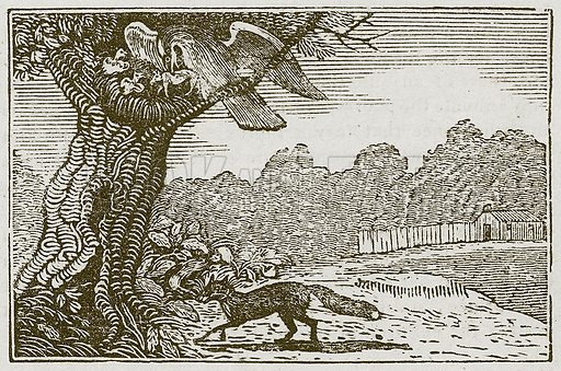 The Eagle and the Fox. Illustration for The Fables of Aesop by Samuel Croxall (Milner & Sowerby, 1860).