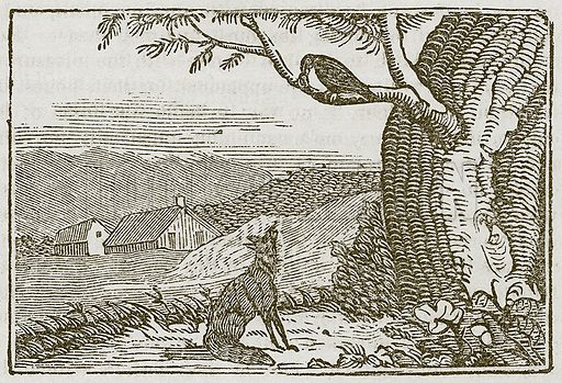 The Fox and the Crow. Illustration for The Fables of Aesop by Samuel Croxall (Milner & Sowerby, 1860).
